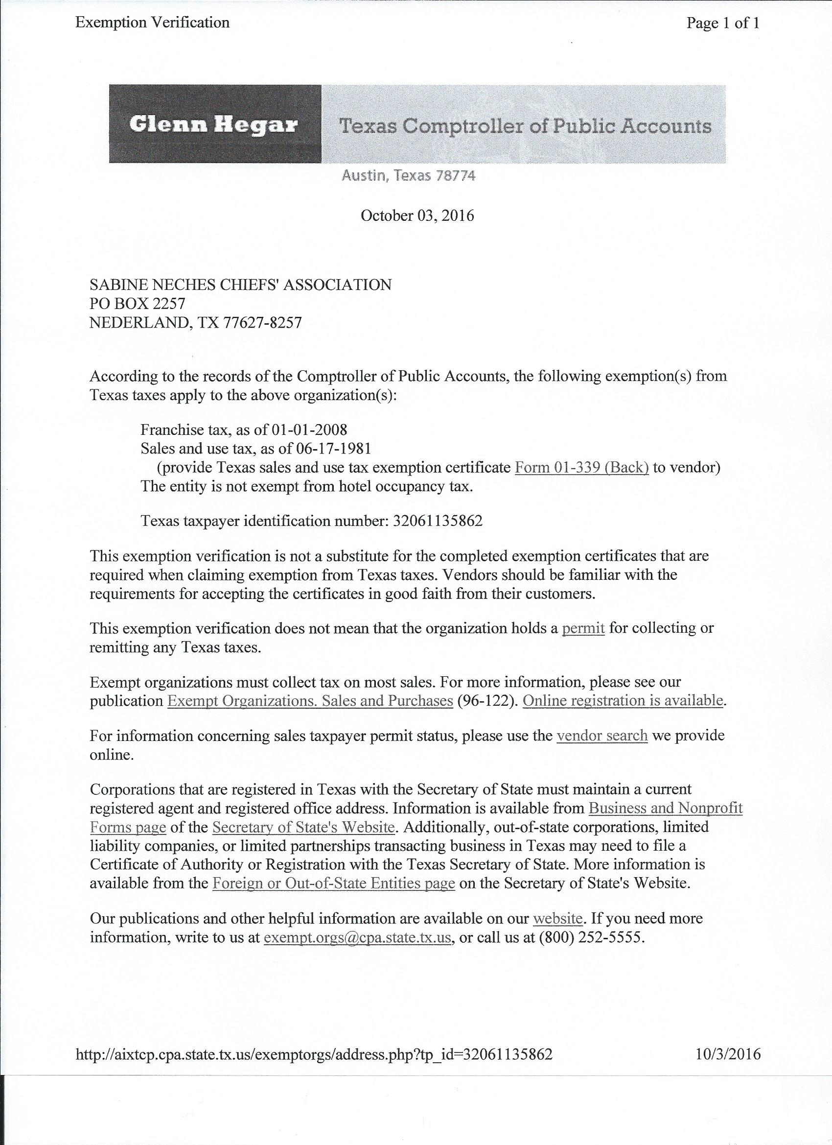 tax exempt letter sabine neches chiefs association 25031 | Comptroller Exemption Letter